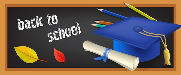 Back to school banner with scroll Free Vector