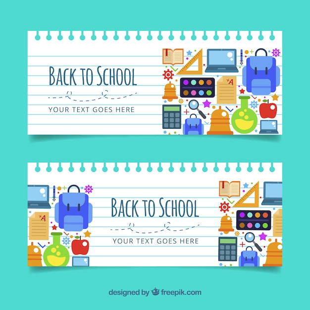Back to school banners in flat style Free Vector