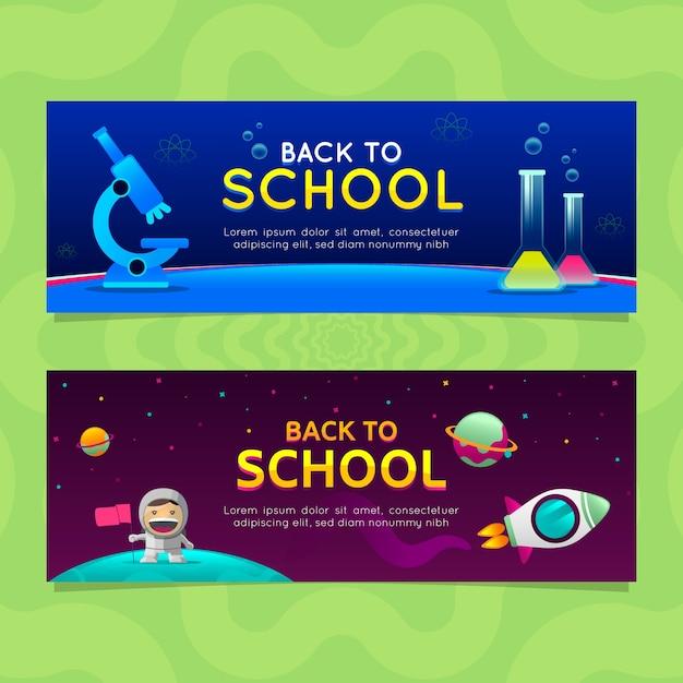 Back to school banners in gradient style Premium Vector