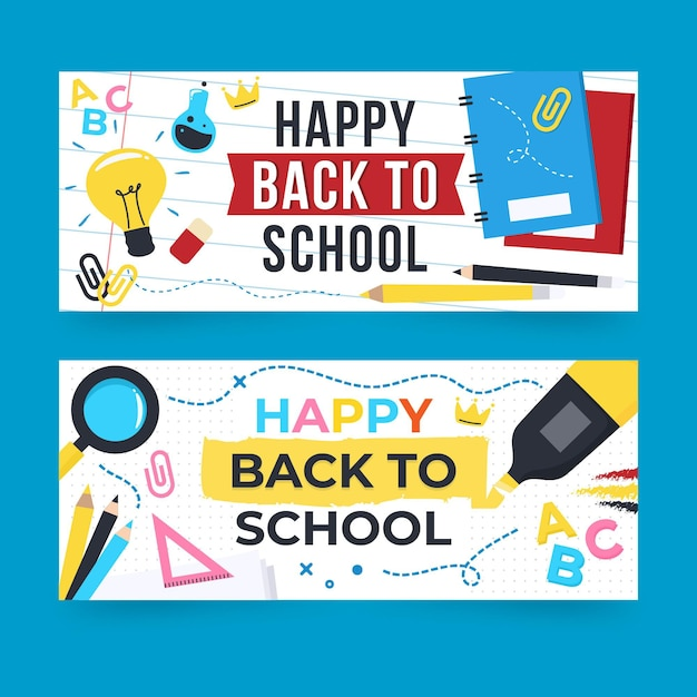 Back to school banners template Free Vector