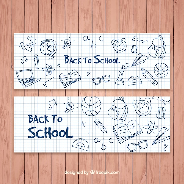 Back to school banners with drawings Free Vector