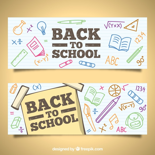 Back to school banners with hand drawn style Free Vector