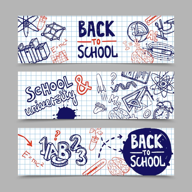 Back to school banners Free Vector