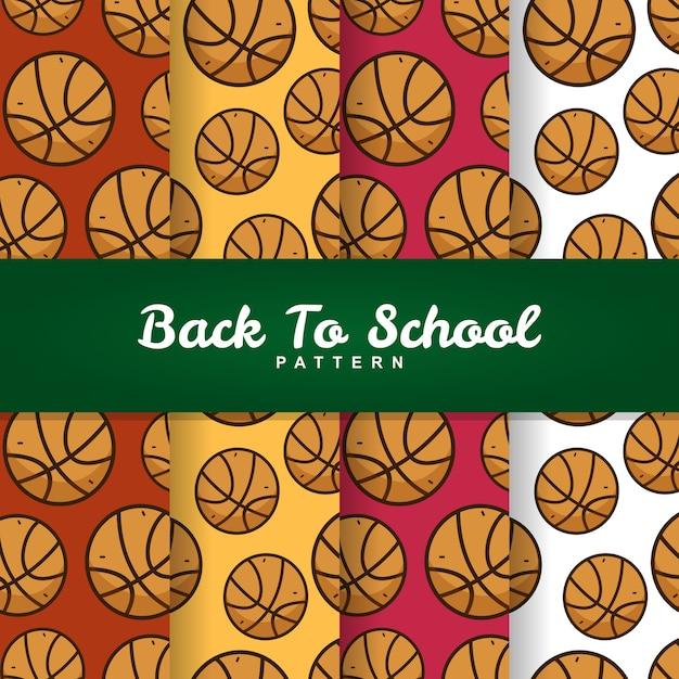 Back to school basketball ball seamless pattern Premium Vector