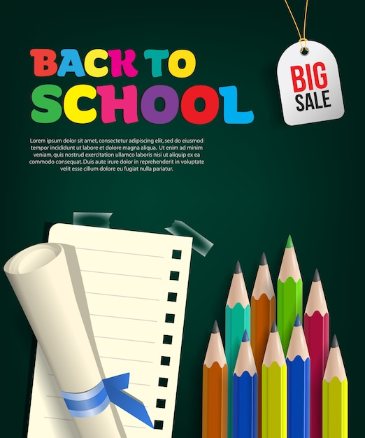 Back to school big sale flyer with paper scroll Free Vector
