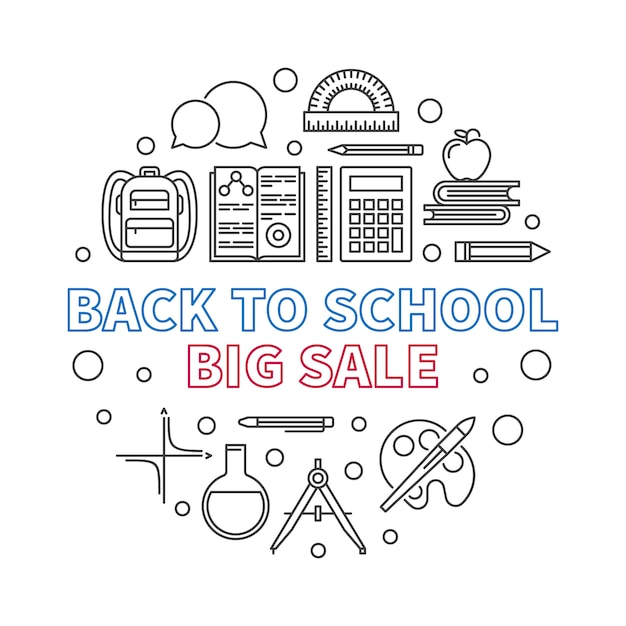 Back to school big sale vector round outline illustration Premium Vector