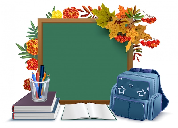 Back to school. blackboard, backpack, books on background autumn leaves Premium Vector