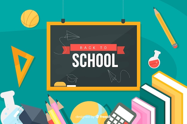 Back to school on blackboard and school supplies Free Vector