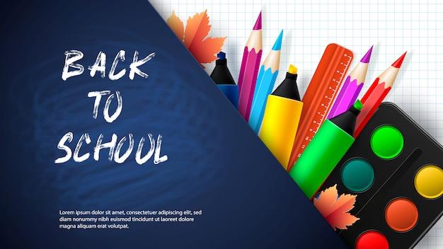 Back to school - blackboard with school supplies. vector Premium Vector