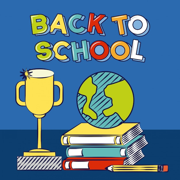 Back to school books a trophy school elements illustration Free Vector