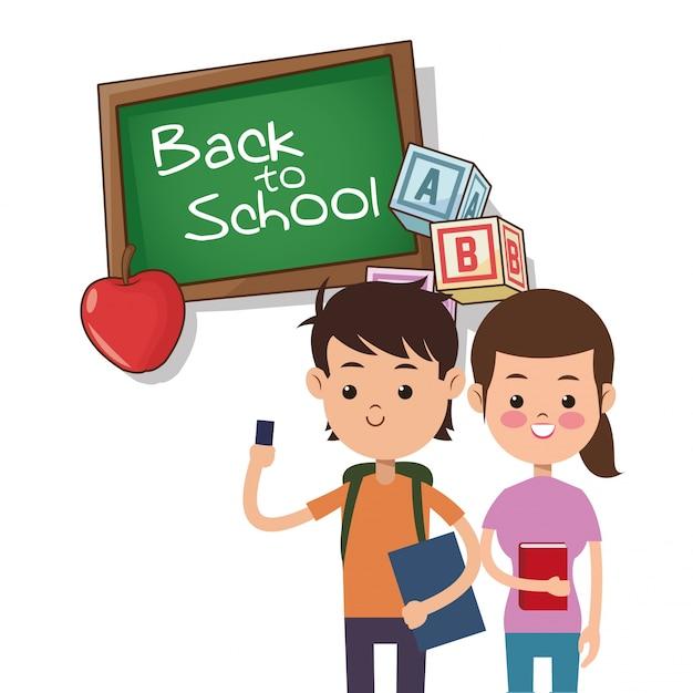 Back to school boy and girl board apple alphabet cube Premium Vector