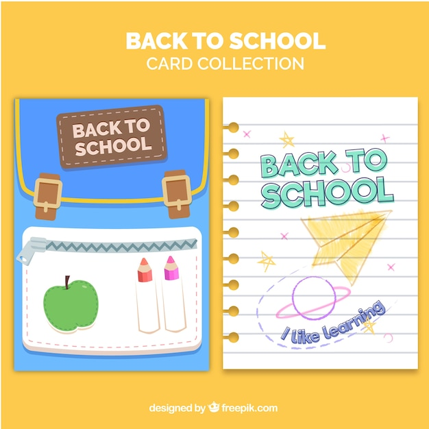 Back to school card collection with flat design Free Vector