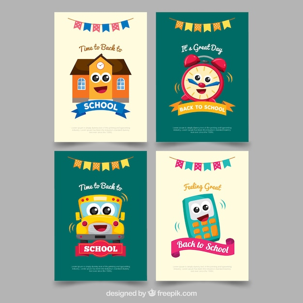 Awe Inspiring Back To School Card Collection With Flat Design Free Vector Funny Birthday Cards Online Fluifree Goldxyz