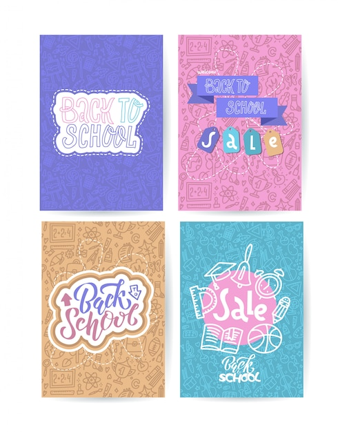 Back to school card set with color emblems on different background consisting of school supplies Premium Vector