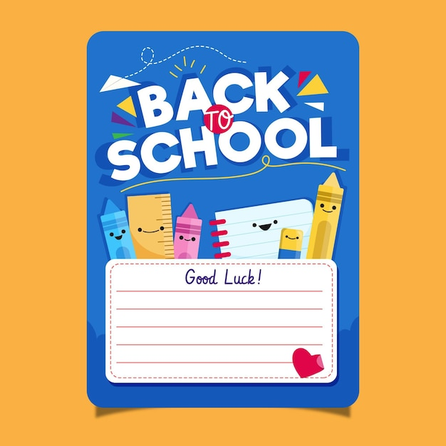 Back to school card template Premium Vector