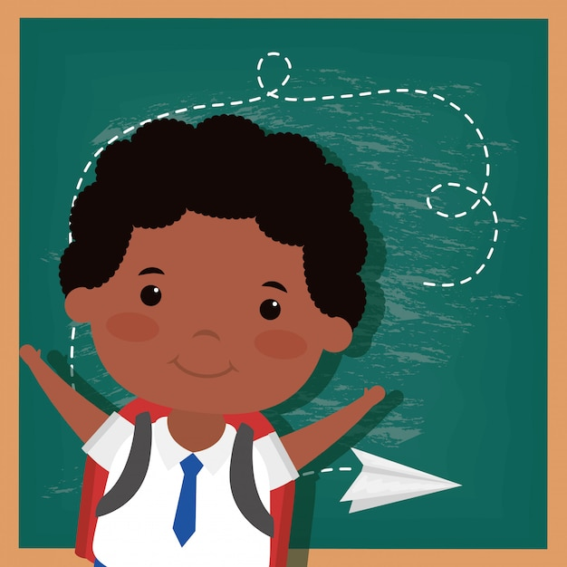 Back to school card with afro student boy Premium Vector