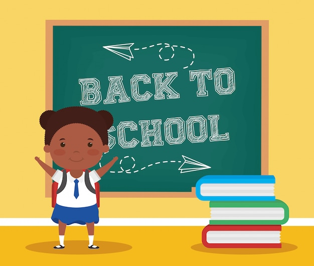 Back to school card with afro student girl Premium Vector
