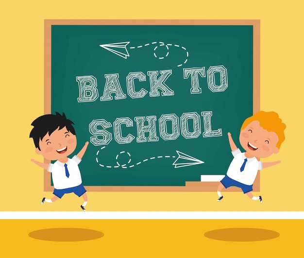 Back to school card with boys students Premium Vector