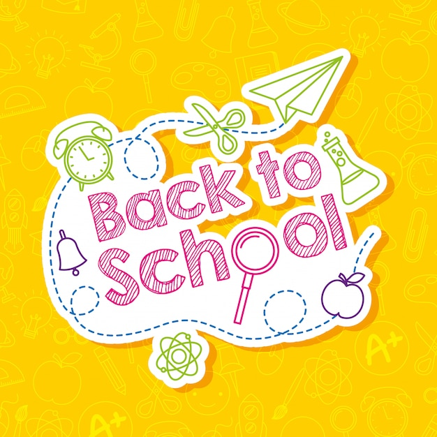 Back to school card with cartoons Premium Vector