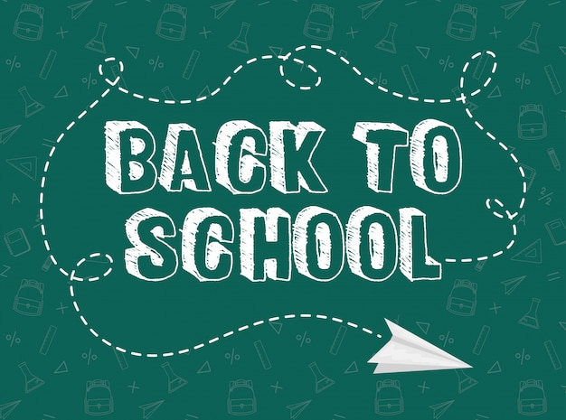 Back to school card with chalkboard and paper airplane Premium Vector