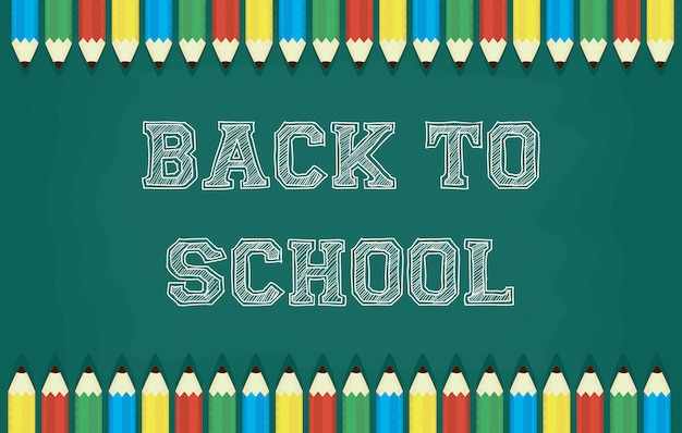 Back to school card with colors pencils and chalkboard Premium Vector