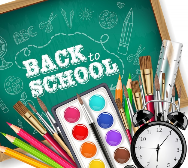 Back to school card with drawing tools Premium Vector