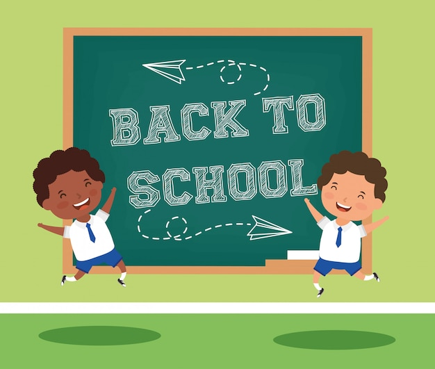 Back to school card with interracial boys students Premium Vector