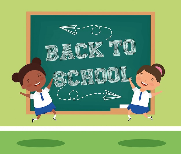 Back to school card with interracial students couple Premium Vector