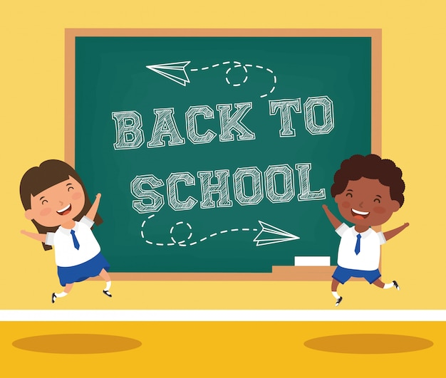 Back to school card with interracial students Premium Vector
