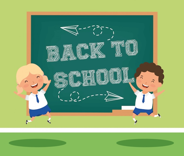 Back to school card with kids couple students Premium Vector