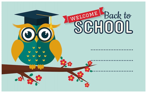 Back to school. card with smart owl and a place for text. Premium Vector