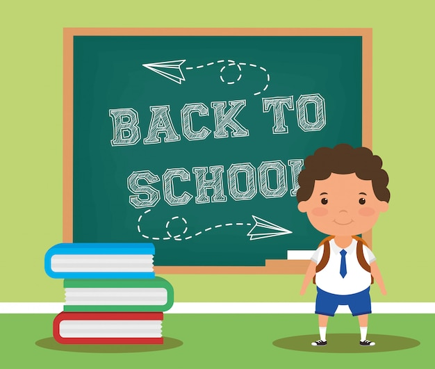 Back to school card with student boy Premium Vector