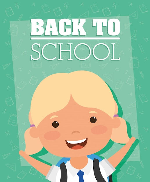 Back to school card with student girl Premium Vector