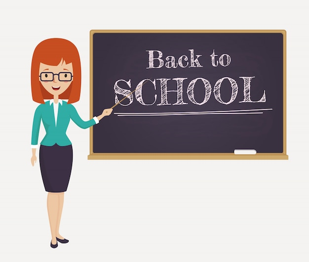 Back to school card with young teacher. Premium Vector