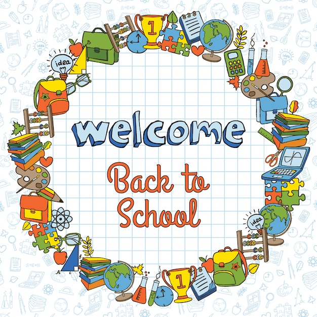 Back to school card Premium Vector
