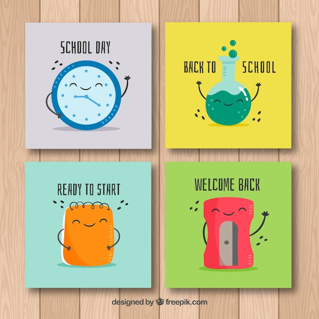 Excellent Back To School Cards Collection With Cartoons Free Vector Funny Birthday Cards Online Fluifree Goldxyz