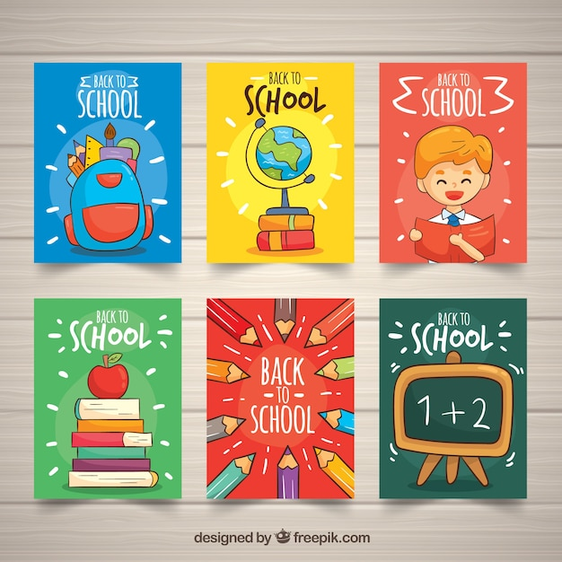 Back to school cards collection with elements Free Vector