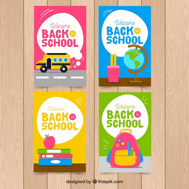 Pleasing Back To School Cards Collection With Elements Free Vector Funny Birthday Cards Online Fluifree Goldxyz