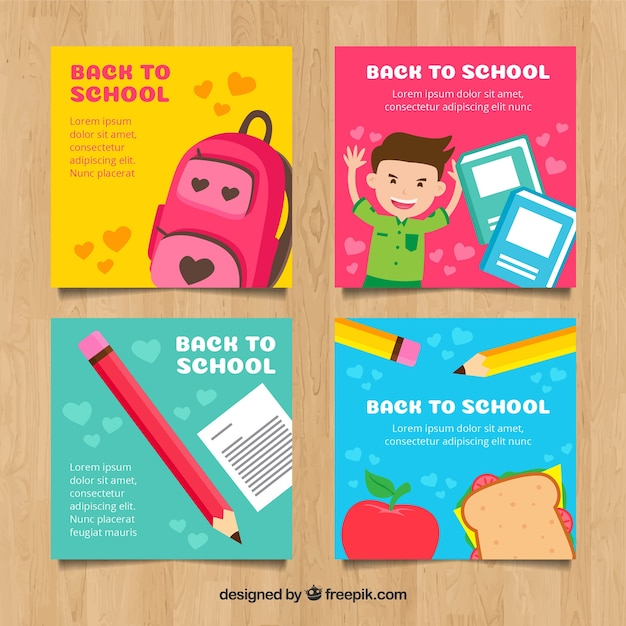 Back to school cards collection Free Vector