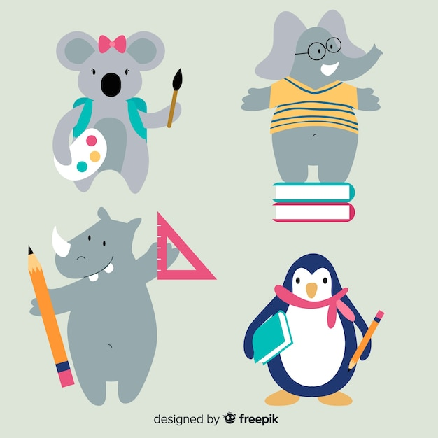Back to school cartoon animal collection Free Vector