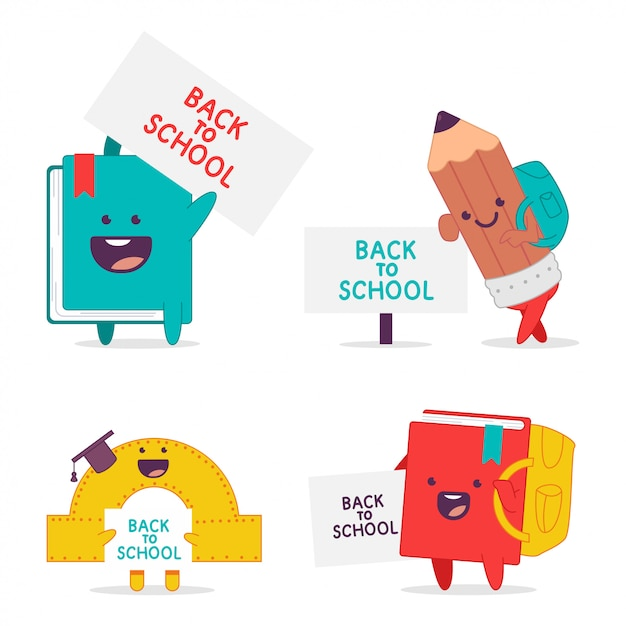 Back to school  cartoon funny characters set isolated on a white background. Premium Vector
