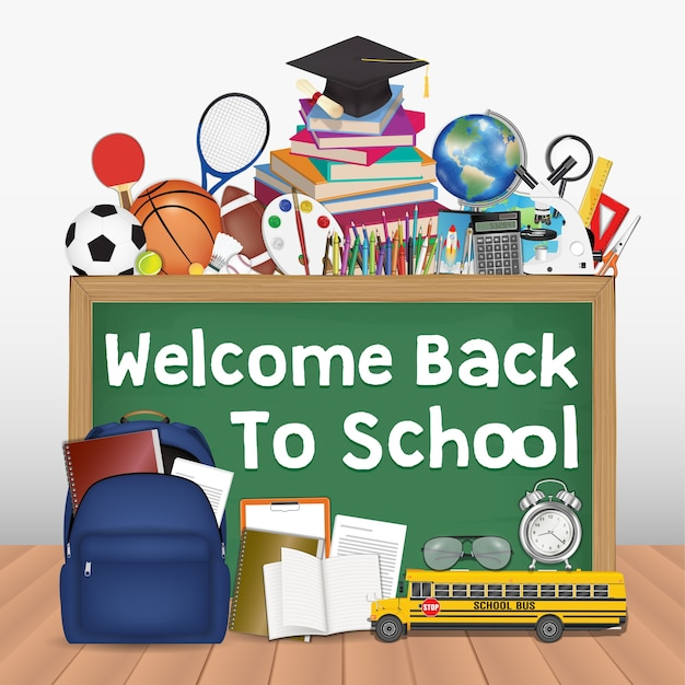 Back to school chalkboard with education tools Premium Vector