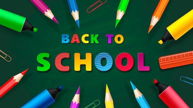 Back to school - chalkboard with pencils and markers. vector Premium Vector