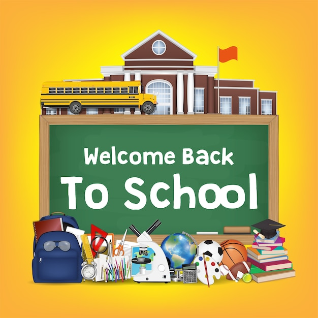 Back to school chalkboard with student items Premium Vector