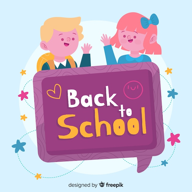 Back to school characters with chat bubble Free Vector