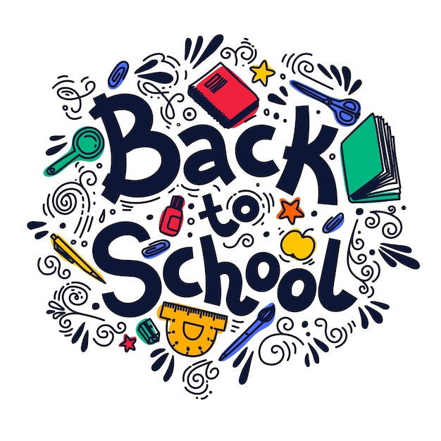 Back to school circle composition.  illustration on white background. Premium Vector