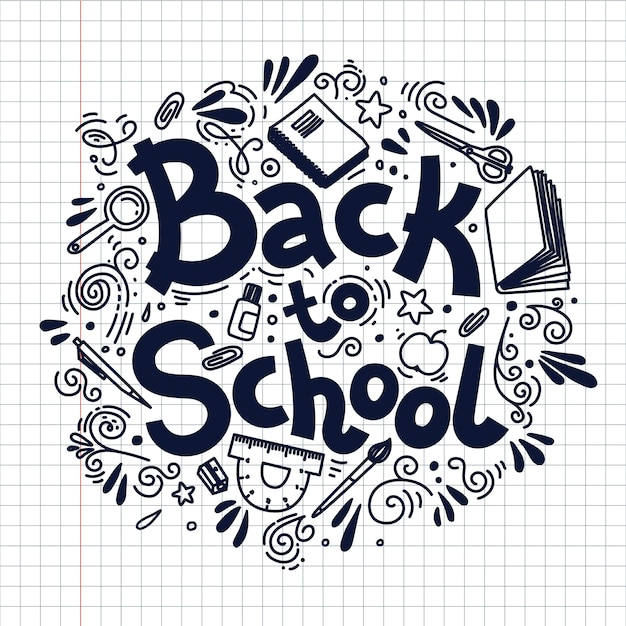 Back to school circle composition on plaid background. doodle style  illustration. Premium Vector