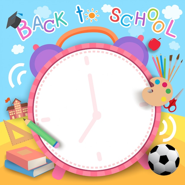 Back-to-school-clock Premium Vector