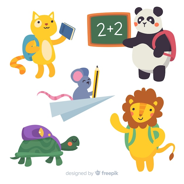 Back to school collection of animals Free Vector
