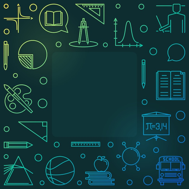 Back to school  colored linear illustration or frame Premium Vector
